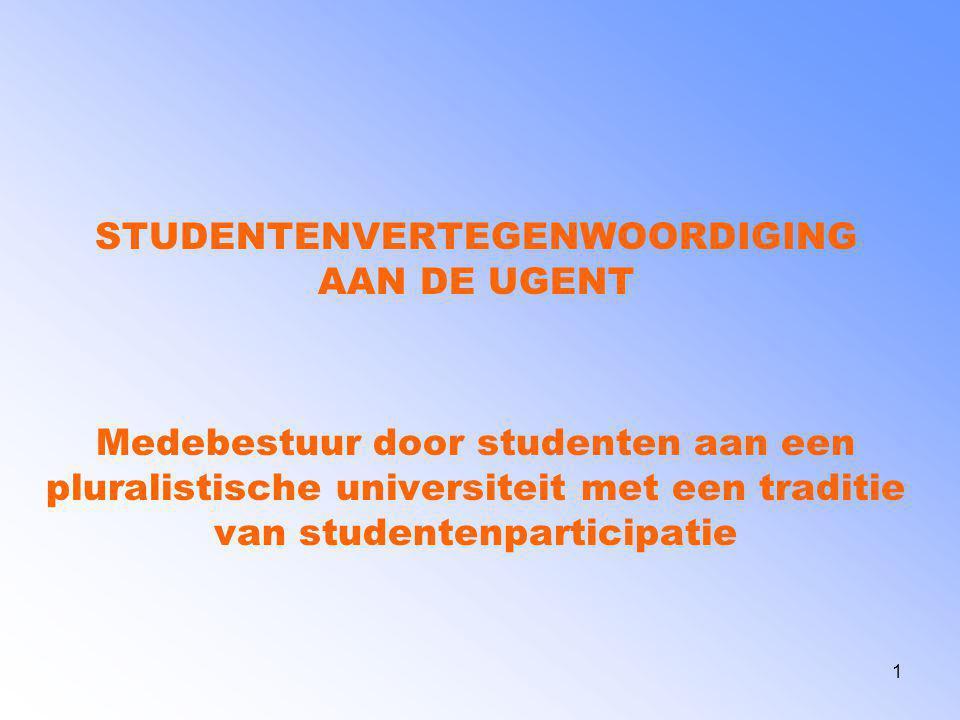 2 Overzicht 1 Organisatiestructuur Universiteit Gent 2 Participatie op Centraal Niveau 3 Participatie op Facultair Niveau 4 GSR Tekstuele Versie te downloaden op http://www.gsr.UGent.be Vragen en reacties: Stijn.Baert@UGent.be