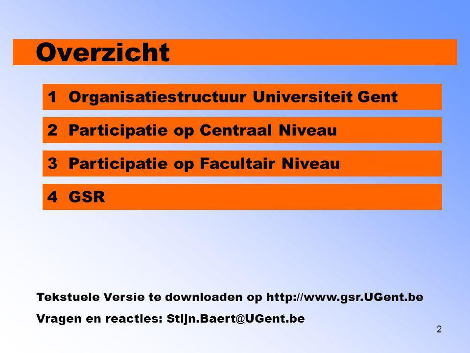 3 Overzicht 1 Organisatiestructuur Universiteit Gent 2 Participatie op Centraal Niveau 3 Participatie op Facultair Niveau 4 GSR Tekstuele Versie te downloaden op http://www.gsr.UGent.be Vragen en reacties: Stijn.Baert@UGent.be