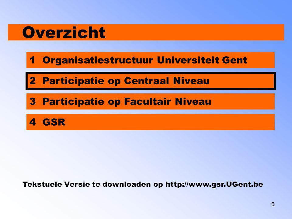 7 Participatie op Centraal Niveau Participatie Centraal Niveau  Gekozen voor M E D E B E S T U U R  Studenten vertegenwoordigd in omzeggens alle raden en commissies.