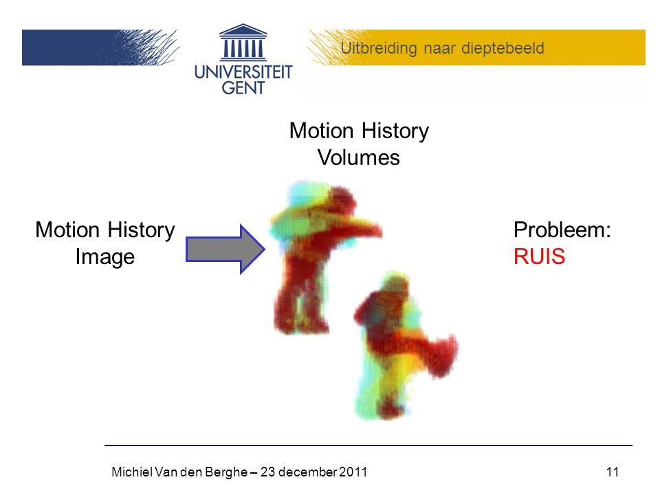 Uitbreiding naar dieptebeeld Michiel Van den Berghe – 23 december 201111 Motion History Volumes Motion History Image Probleem: RUIS