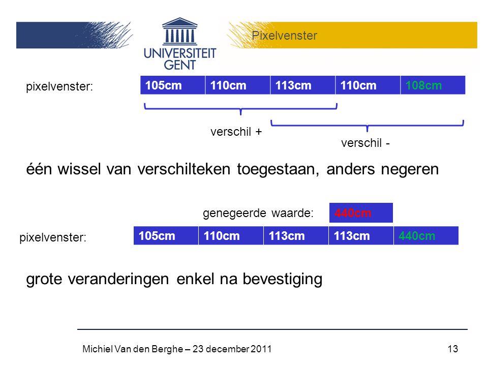 Pixelvenster Michiel Van den Berghe – 23 december 201113 105cm110cm113cm110cm108cm pixelvenster: verschil + verschil - één wissel van verschilteken toegestaan, anders negeren 105cm110cm113cm 440cm pixelvenster: 440cm grote veranderingen enkel na bevestiging genegeerde waarde: