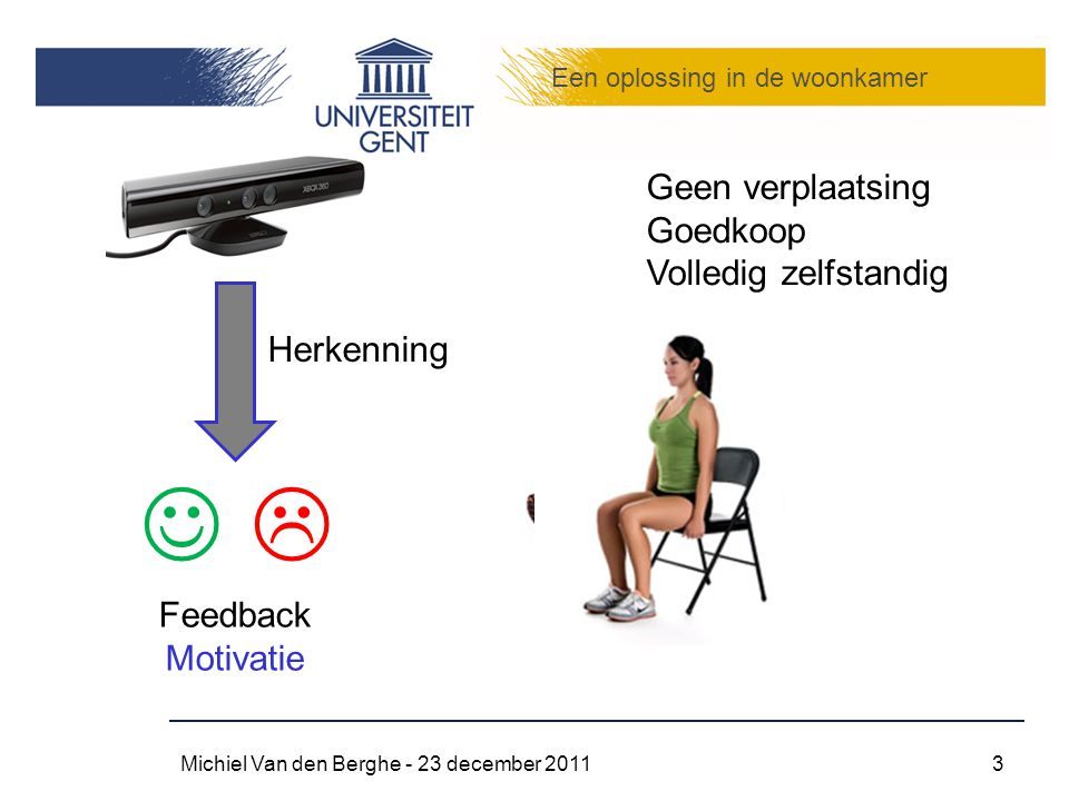 Een oplossing in de woonkamer Michiel Van den Berghe - 23 december 20113 Geen verplaatsing Goedkoop Volledig zelfstandig  Feedback Motivatie Herkenni