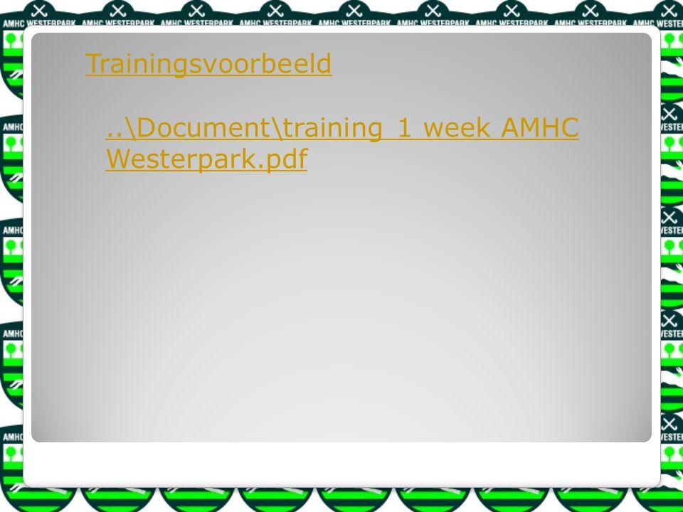 Trainingsvoorbeeld..\Document\training 1 week AMHC Westerpark.pdf