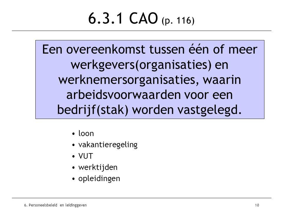 6. Personeelsbeleid en leidinggeven10 6.3.1 CAO (p. 116) Een overeenkomst tussen één of meer werkgevers(organisaties) en werknemersorganisaties, waari