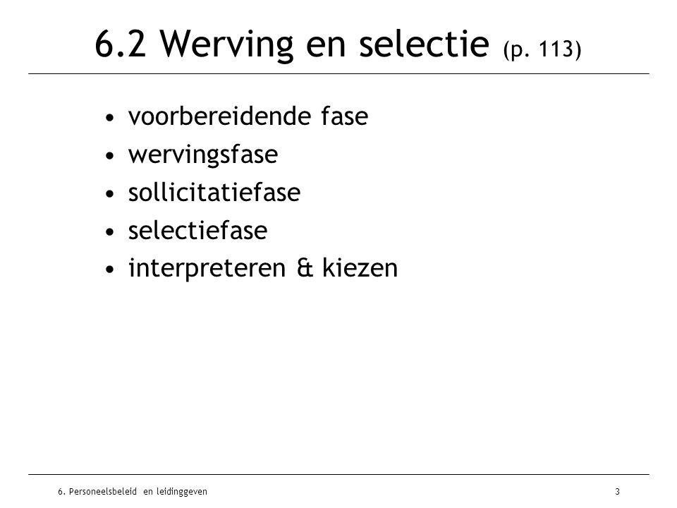 6. Personeelsbeleid en leidinggeven3 6.2 Werving en selectie (p. 113) voorbereidende fase wervingsfase sollicitatiefase selectiefase interpreteren & k