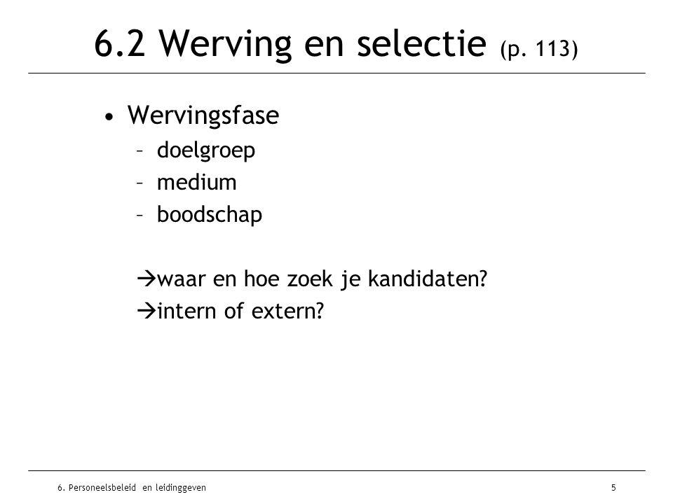 6. Personeelsbeleid en leidinggeven5 6.2 Werving en selectie (p. 113) Wervingsfase –doelgroep –medium –boodschap  waar en hoe zoek je kandidaten?  i