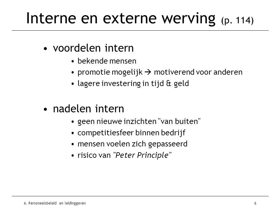 6. Personeelsbeleid en leidinggeven6 Interne en externe werving (p.