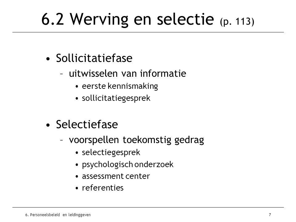 6. Personeelsbeleid en leidinggeven7 6.2 Werving en selectie (p. 113) Sollicitatiefase –uitwisselen van informatie eerste kennismaking sollicitatieges