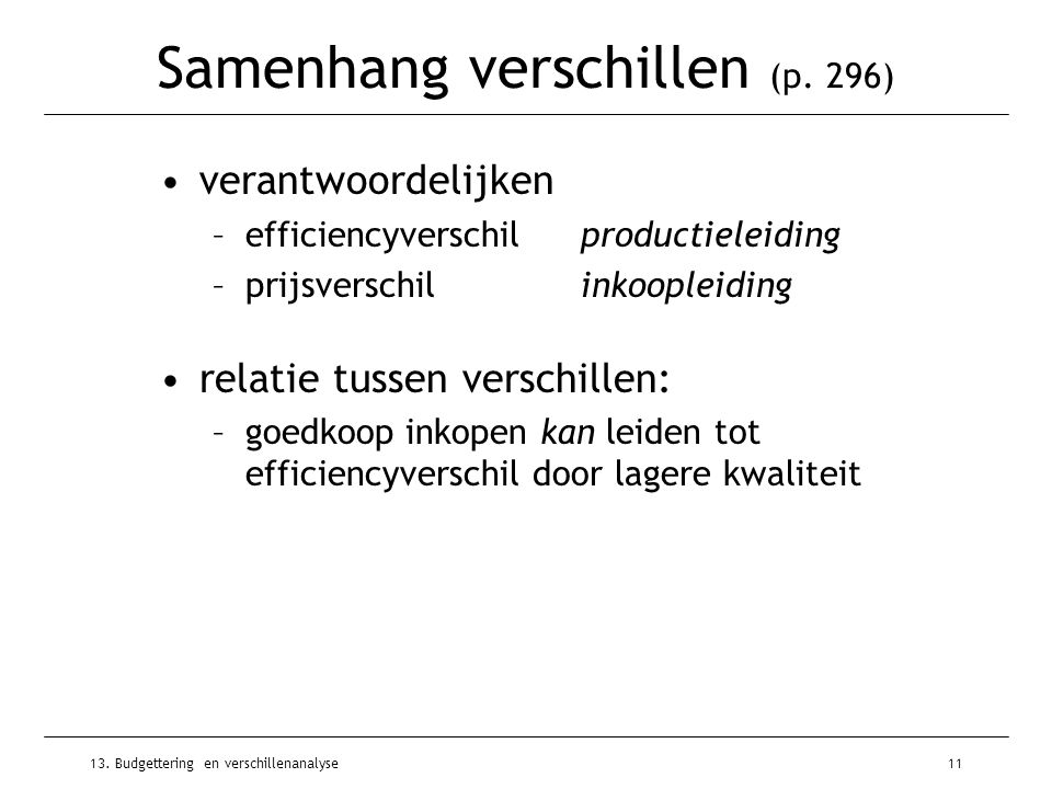 13. Budgettering en verschillenanalyse11 Samenhang verschillen (p. 296) verantwoordelijken –efficiencyverschilproductieleiding –prijsverschilinkooplei