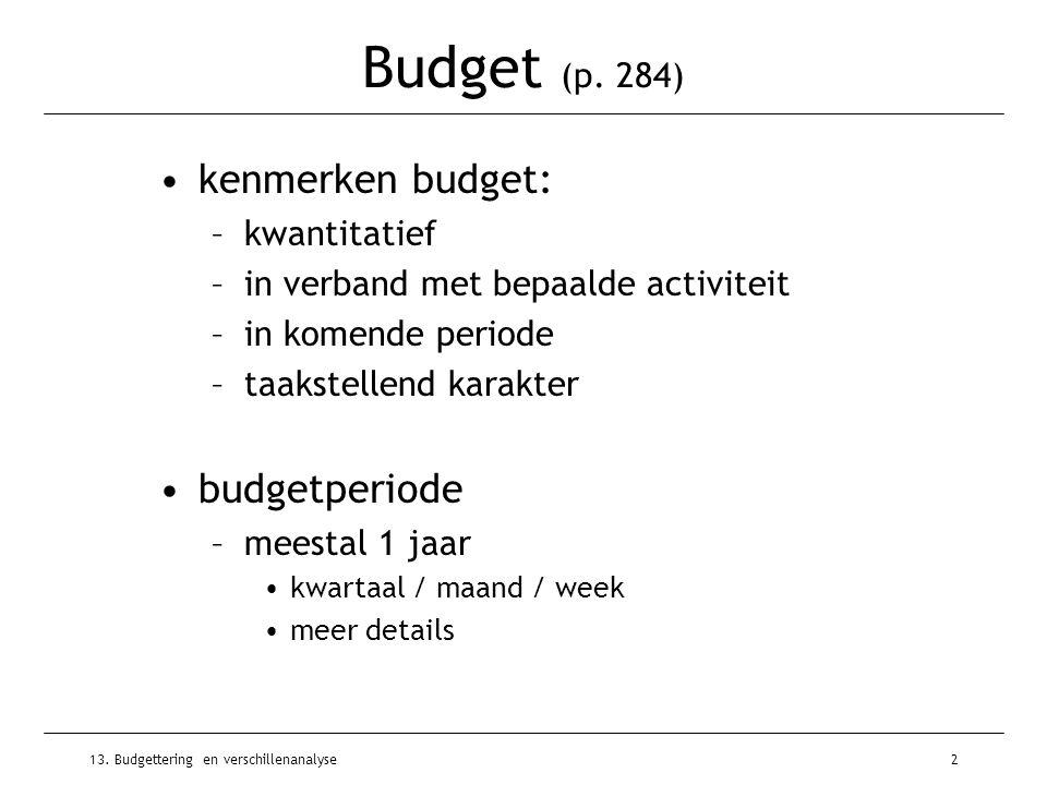 13. Budgettering en verschillenanalyse2 Budget (p. 284) kenmerken budget: –kwantitatief –in verband met bepaalde activiteit –in komende periode –taaks