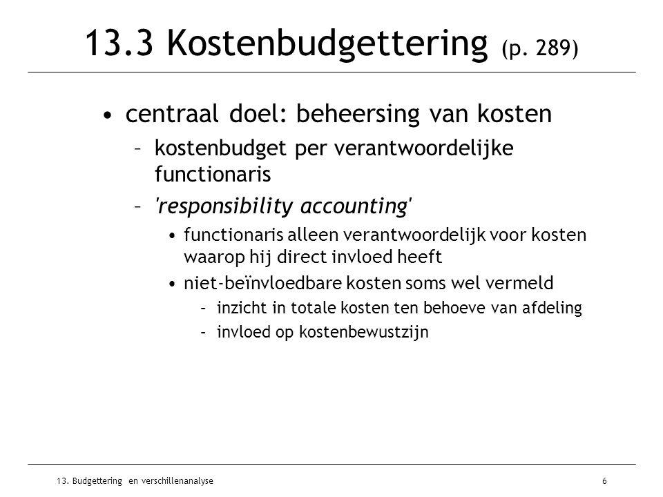 13.Budgettering en verschillenanalyse7 Soorten kostenbudgetten (p.
