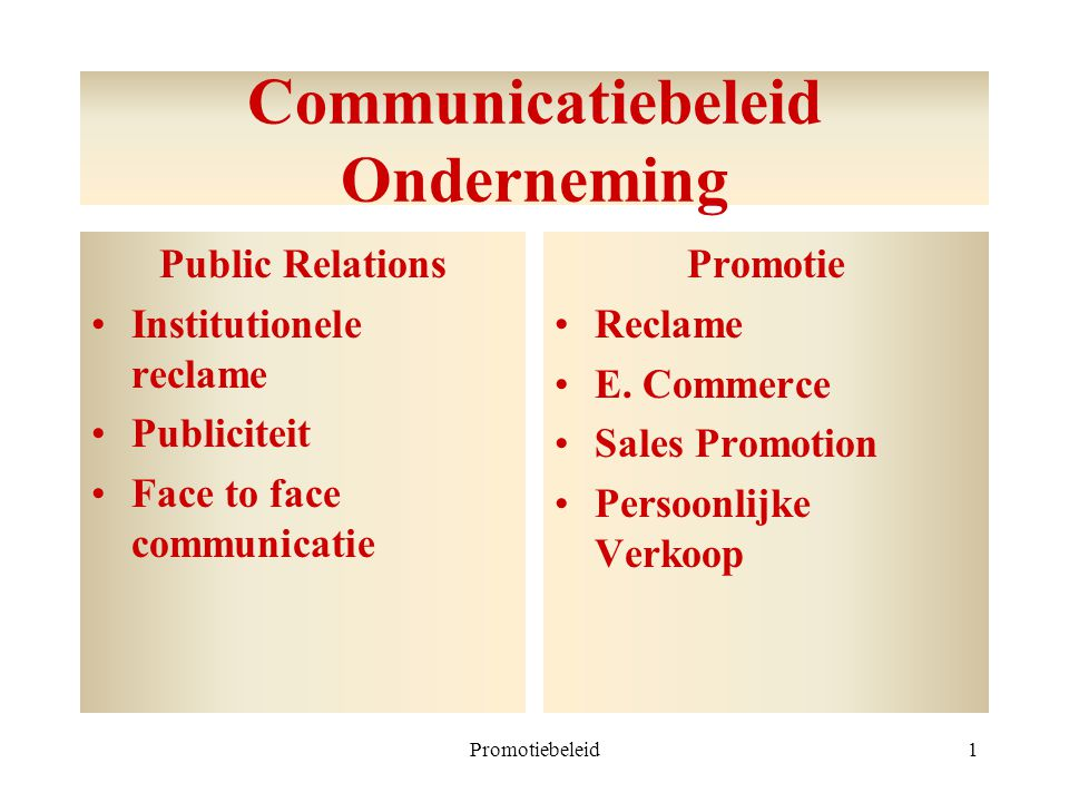Promotiebeleid2 Public relations Institutionele reclame = beinvloeding stakeholders (corporate advertising) Publiciteit = free publicity.