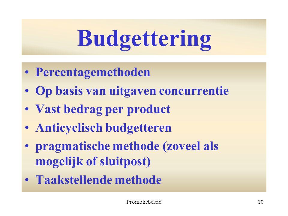 Promotiebeleid10 Budgettering Percentagemethoden Op basis van uitgaven concurrentie Vast bedrag per product Anticyclisch budgetteren pragmatische meth