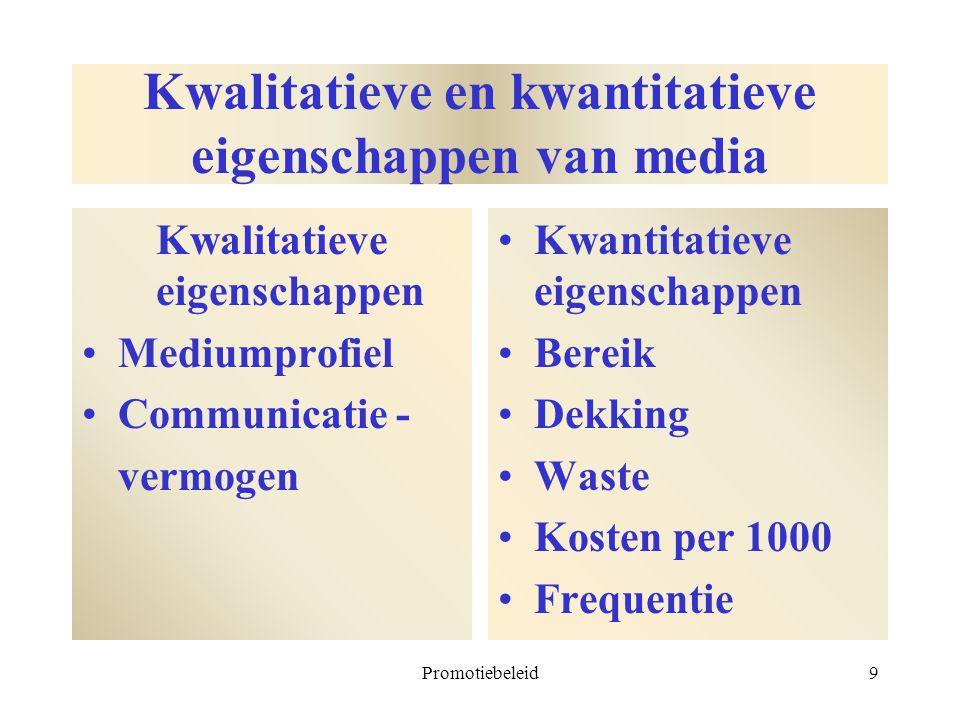 Promotiebeleid9 Kwalitatieve en kwantitatieve eigenschappen van media Kwalitatieve eigenschappen Mediumprofiel Communicatie - vermogen Kwantitatieve e