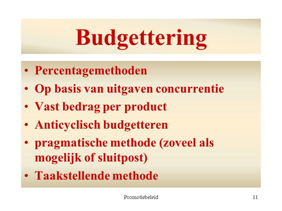 Promotiebeleid11 Budgettering Percentagemethoden Op basis van uitgaven concurrentie Vast bedrag per product Anticyclisch budgetteren pragmatische meth