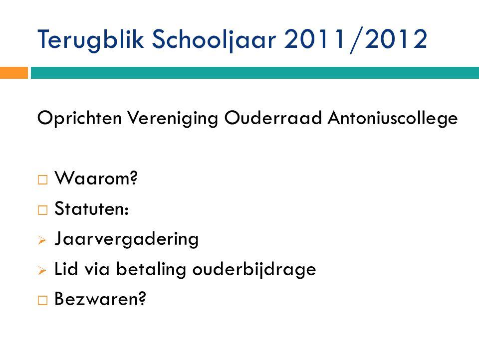 Terugblik Schooljaar 2011/2012 Oprichten Vereniging Ouderraad Antoniuscollege  Waarom.