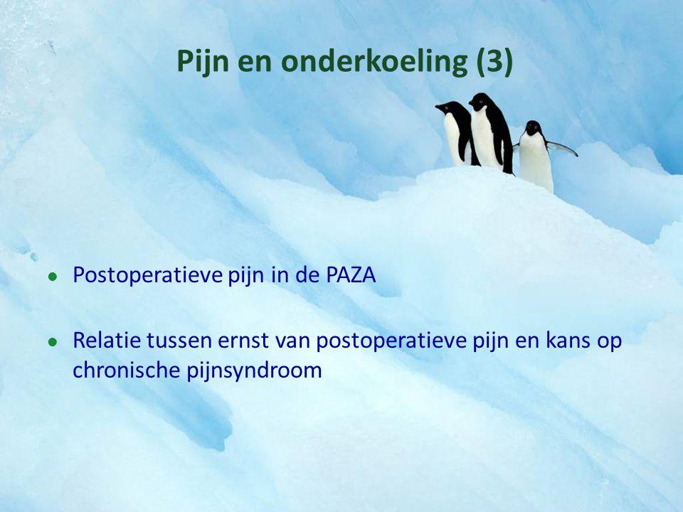 Pijn en onderkoeling (3) Postoperatieve pijn in de PAZA Relatie tussen ernst van postoperatieve pijn en kans op chronische pijnsyndroom