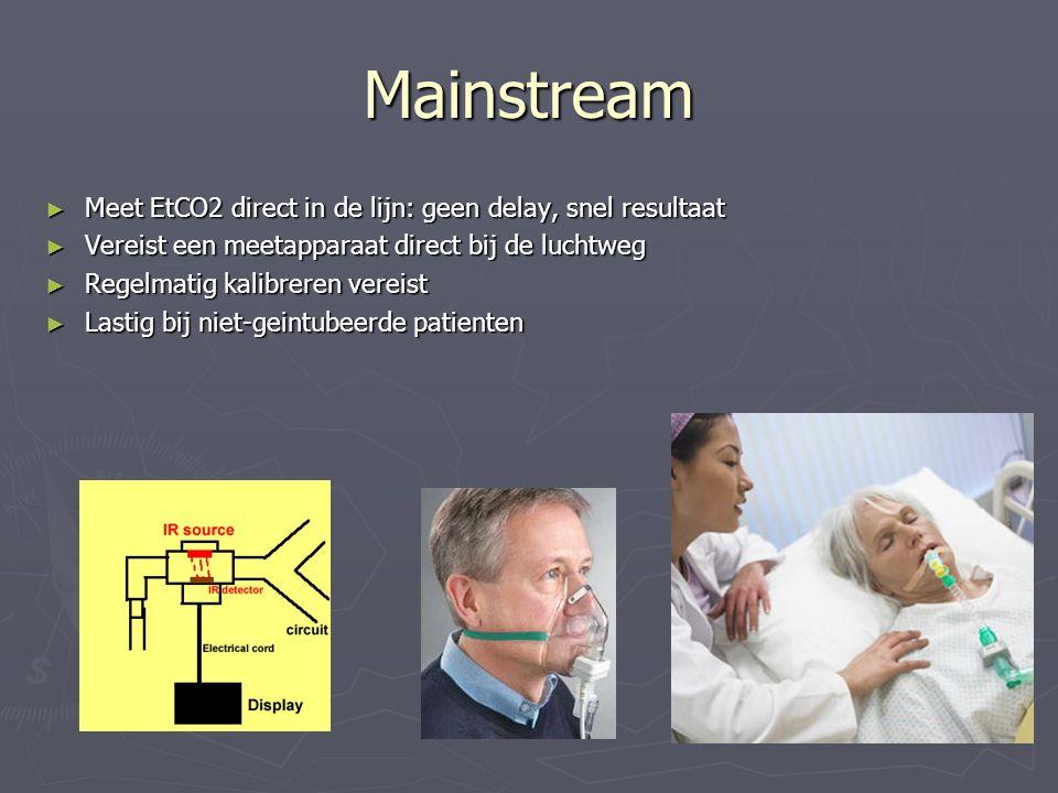 Mainstream ► Meet EtCO2 direct in de lijn: geen delay, snel resultaat ► Vereist een meetapparaat direct bij de luchtweg ► Regelmatig kalibreren vereis