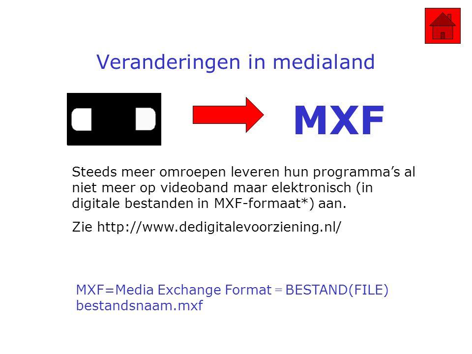 Veranderingen in medialand Steeds meer omroepen leveren hun programma's al niet meer op videoband maar elektronisch (in digitale bestanden in MXF-formaat*) aan.