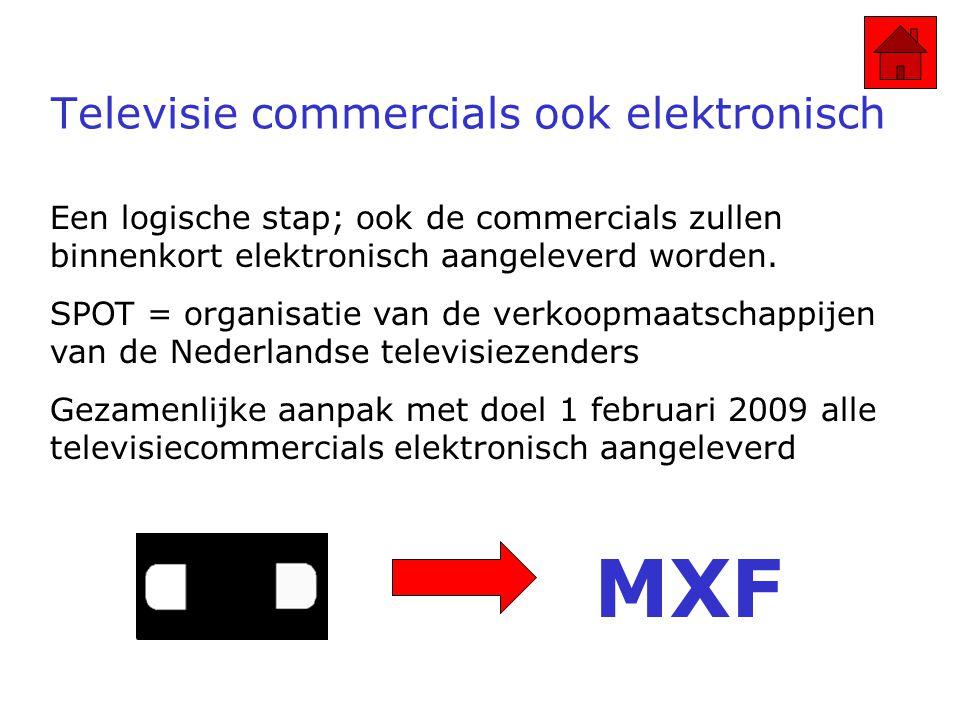 Televisie commercials ook elektronisch Een logische stap; ook de commercials zullen binnenkort elektronisch aangeleverd worden.