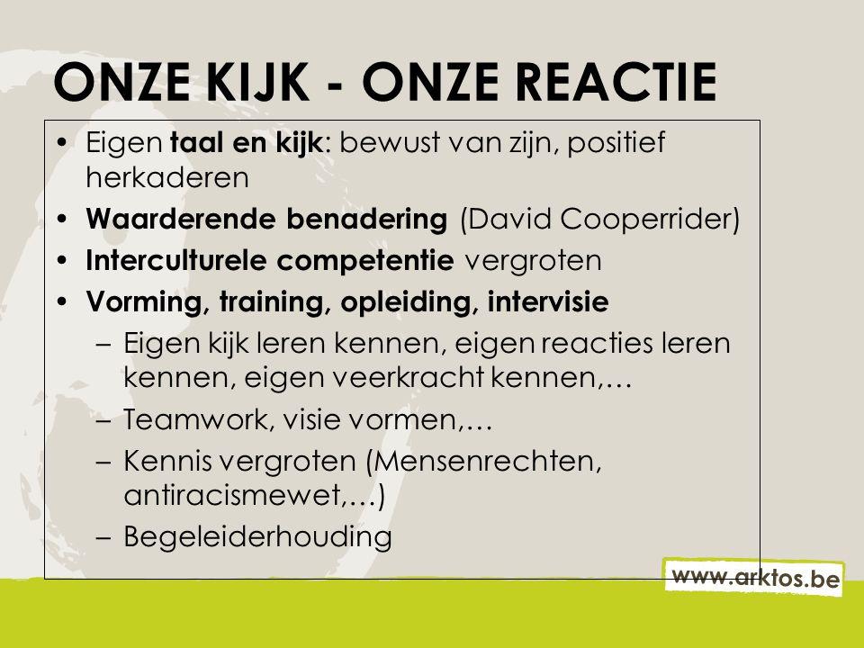 ONZE KIJK - ONZE REACTIE Eigen taal en kijk : bewust van zijn, positief herkaderen Waarderende benadering (David Cooperrider) Interculturele competent