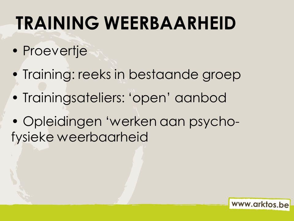 TRAINING WEERBAARHEID Proevertje Training: reeks in bestaande groep Trainingsateliers: 'open' aanbod Opleidingen 'werken aan psycho- fysieke weerbaarh