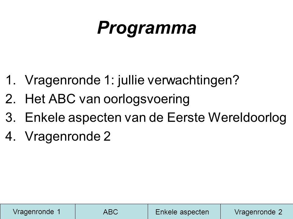 Programma 1.Vragenronde 1: jullie verwachtingen? 2.Het ABC van oorlogsvoering 3.Enkele aspecten van de Eerste Wereldoorlog 4.Vragenronde 2 Vragenronde