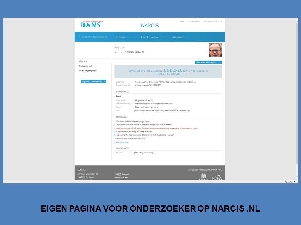 EIGEN PAGINA VOOR ONDERZOEKER OP NARCIS.NL