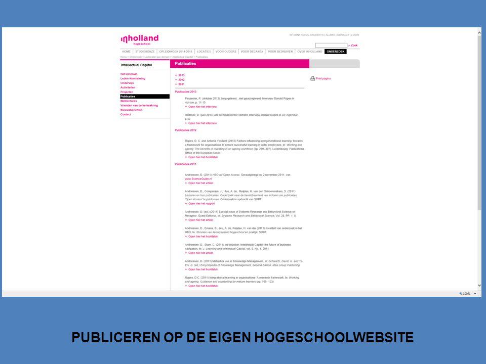 PUBLICEREN OP DE EIGEN HOGESCHOOLWEBSITE