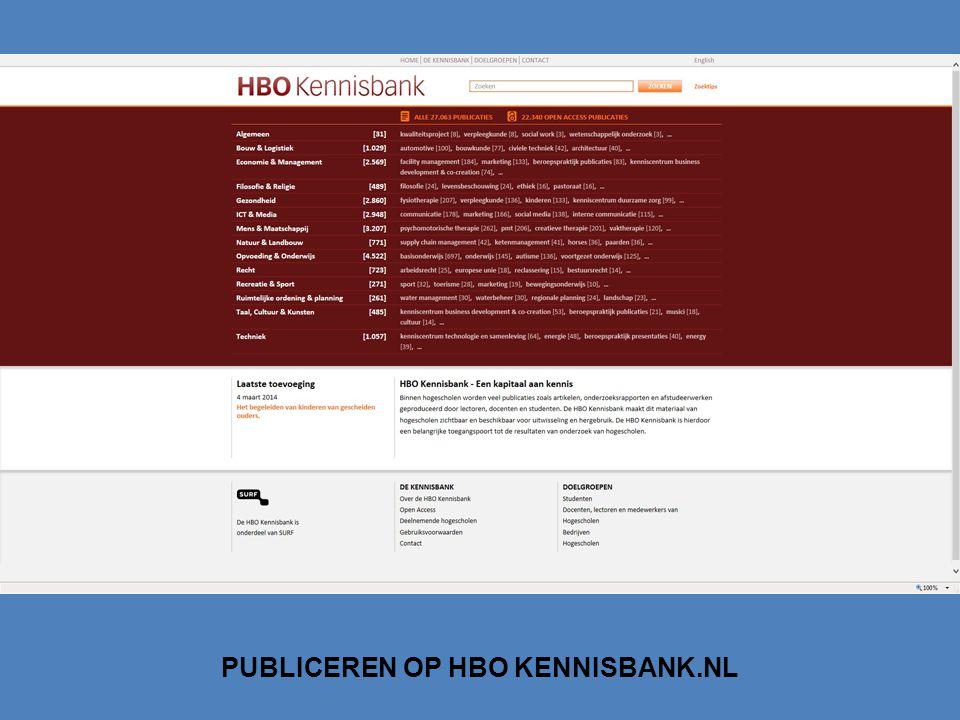 PUBLICEREN OP HBO KENNISBANK.NL