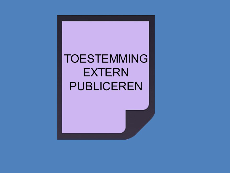 TOESTEMMING EXTERN PUBLICEREN