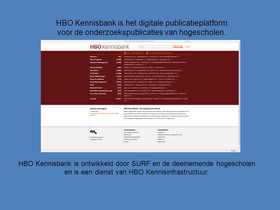 HBO Kennisbank is ontwikkeld door SURF en de deelnemende hogescholen en is een dienst van HBO Kennisinfrastructuur.