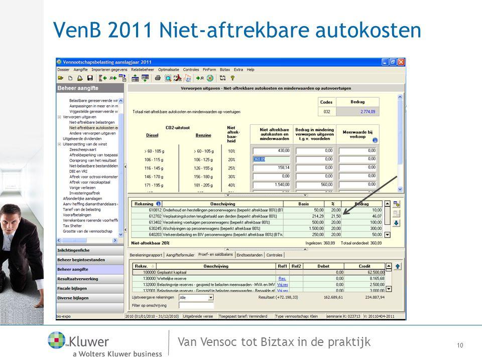 Van Vensoc tot Biztax in de praktijk VenB 2011 Niet-aftrekbare autokosten 10