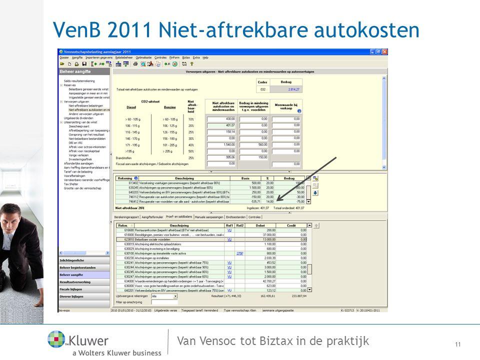 Van Vensoc tot Biztax in de praktijk VenB 2011 Niet-aftrekbare autokosten 11
