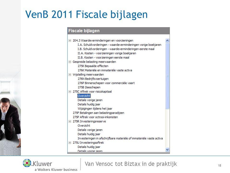 Van Vensoc tot Biztax in de praktijk VenB 2011 Fiscale bijlagen 18