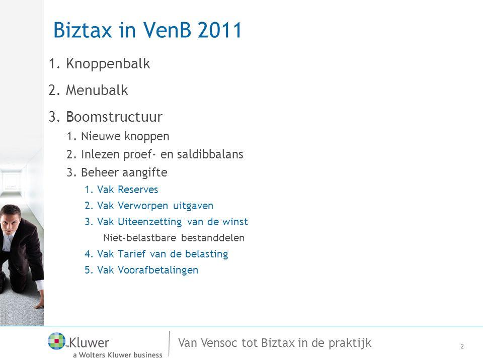 Van Vensoc tot Biztax in de praktijk Biztax in VenB 2011 1.