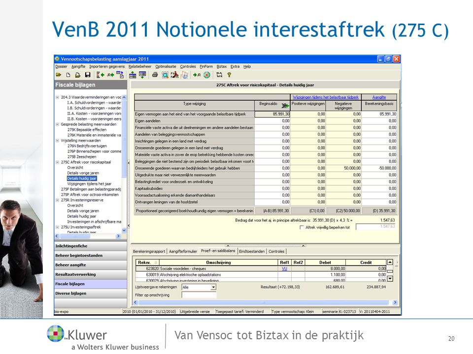Van Vensoc tot Biztax in de praktijk VenB 2011 Notionele interestaftrek (275 C) 20