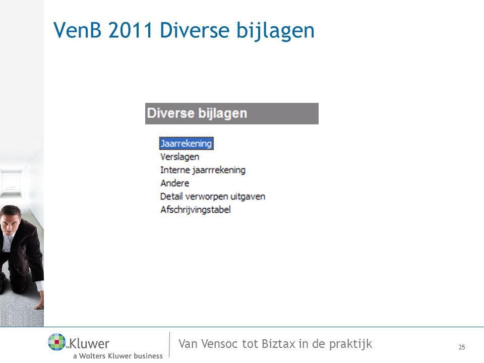 Van Vensoc tot Biztax in de praktijk VenB 2011 Diverse bijlagen 25