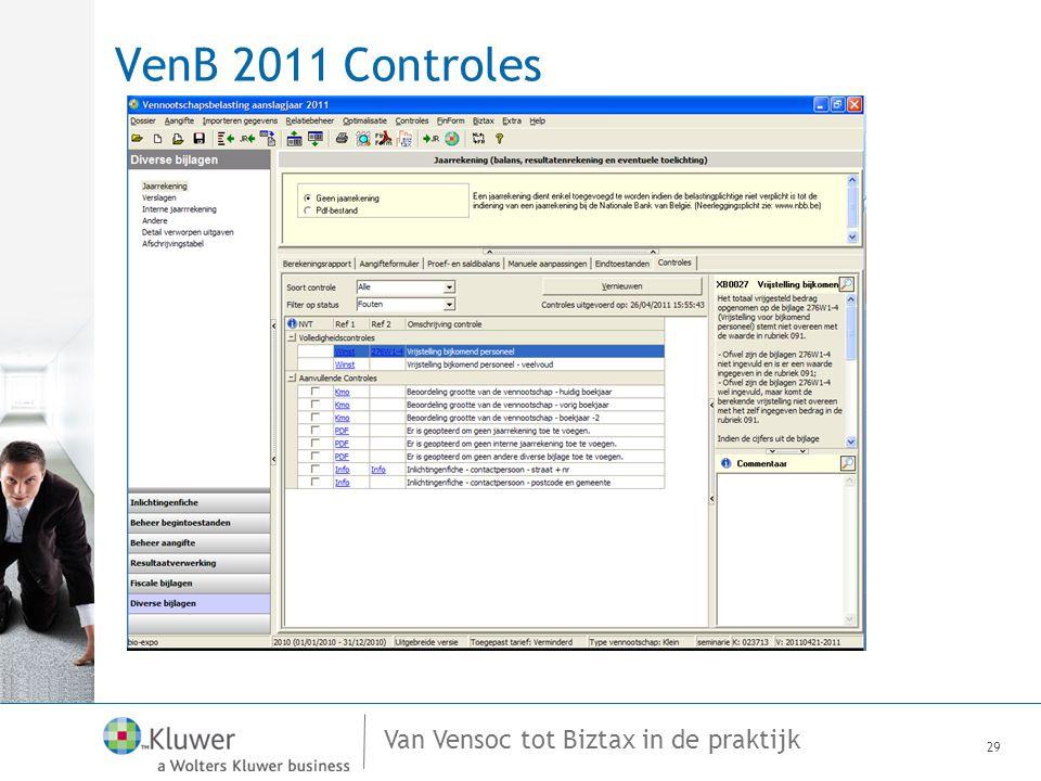 Van Vensoc tot Biztax in de praktijk VenB 2011 Controles 29