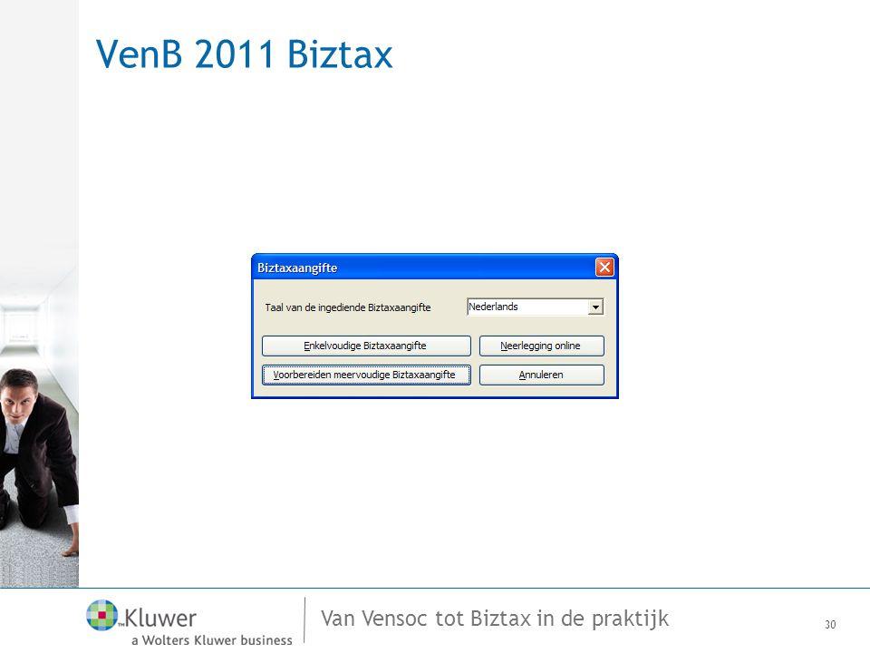 Van Vensoc tot Biztax in de praktijk VenB 2011 Biztax 30