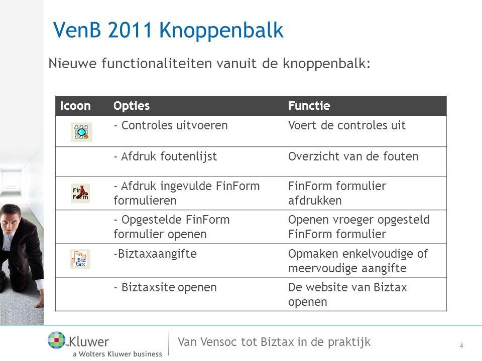 Van Vensoc tot Biztax in de praktijk VenB 2011 Knoppenbalk Nieuwe functionaliteiten vanuit de knoppenbalk: 4 IcoonOptiesFunctie - Controles uitvoerenVoert de controles uit - Afdruk foutenlijstOverzicht van de fouten - Afdruk ingevulde FinForm formulieren FinForm formulier afdrukken - Opgestelde FinForm formulier openen Openen vroeger opgesteld FinForm formulier -BiztaxaangifteOpmaken enkelvoudige of meervoudige aangifte - Biztaxsite openenDe website van Biztax openen