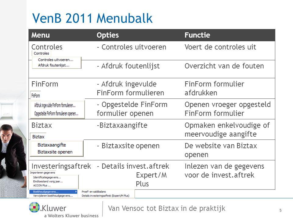Van Vensoc tot Biztax in de praktijk VenB 2011 Boomstructuur Aanslagjaar 2010Aanslagjaar 2011 6