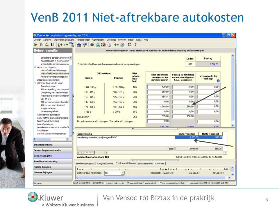 Van Vensoc tot Biztax in de praktijk VenB 2011 Niet-aftrekbare autokosten 9