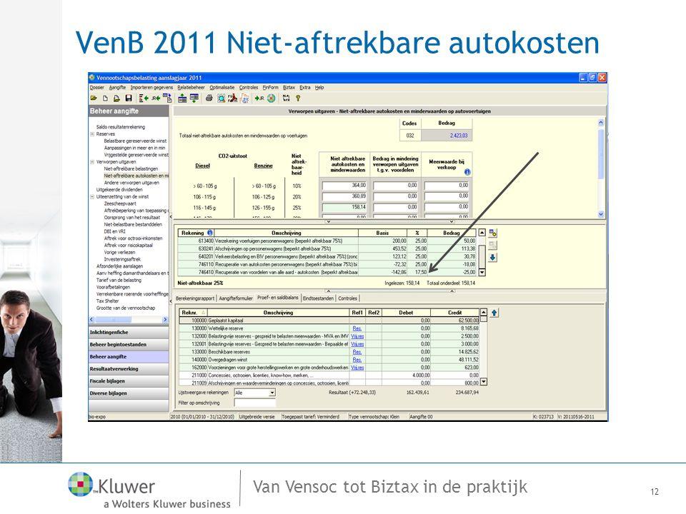 Van Vensoc tot Biztax in de praktijk VenB 2011 Niet-aftrekbare autokosten 12