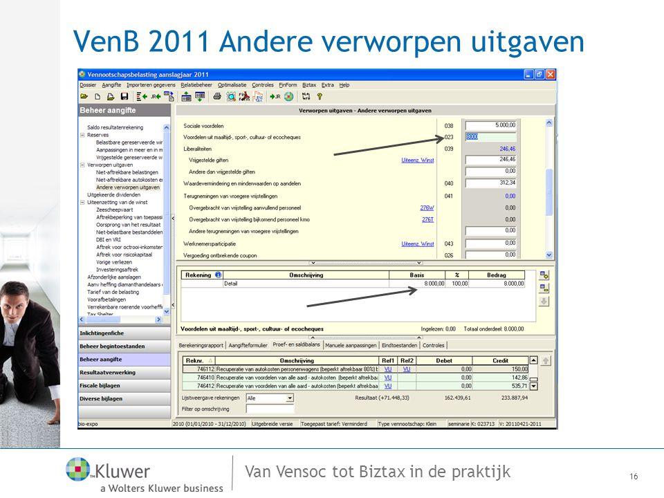 Van Vensoc tot Biztax in de praktijk VenB 2011 Andere verworpen uitgaven 16