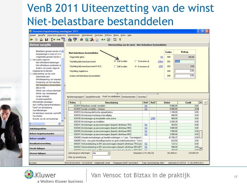 Van Vensoc tot Biztax in de praktijk VenB 2011 Uiteenzetting van de winst Niet-belastbare bestanddelen 17