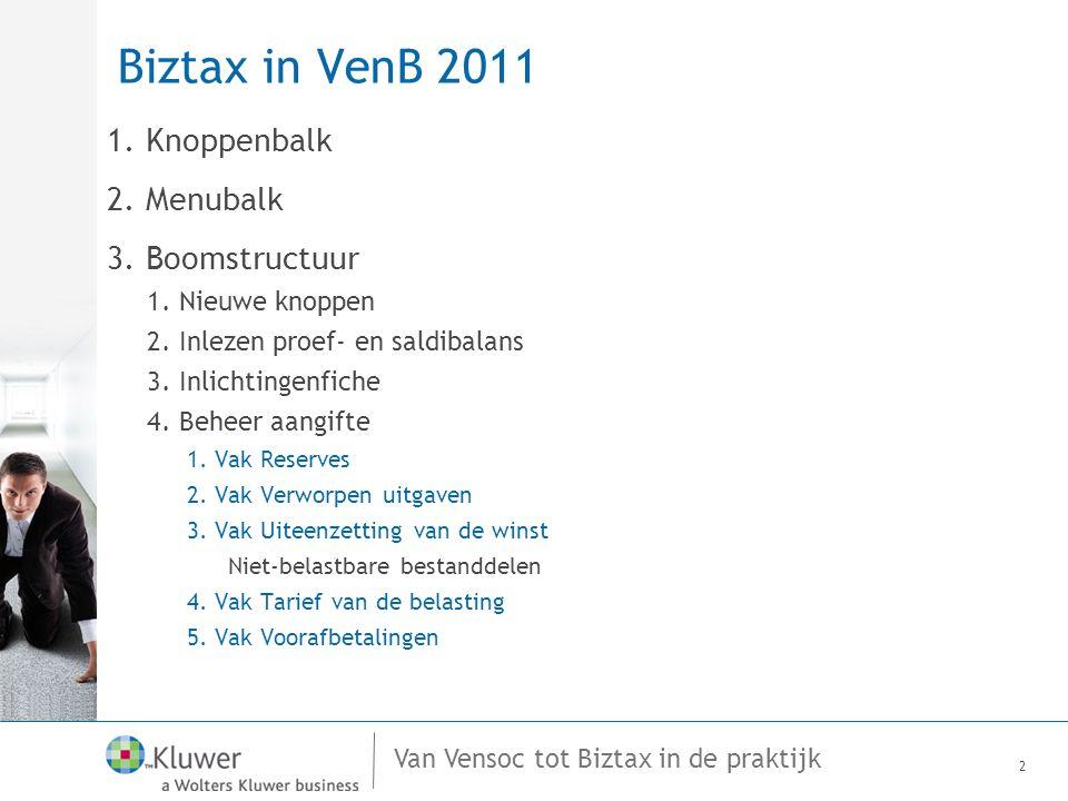 Van Vensoc tot Biztax in de praktijk Biztax in VenB 2011 1. Knoppenbalk 2. Menubalk 3. Boomstructuur 1. Nieuwe knoppen 2. Inlezen proef- en saldibalan
