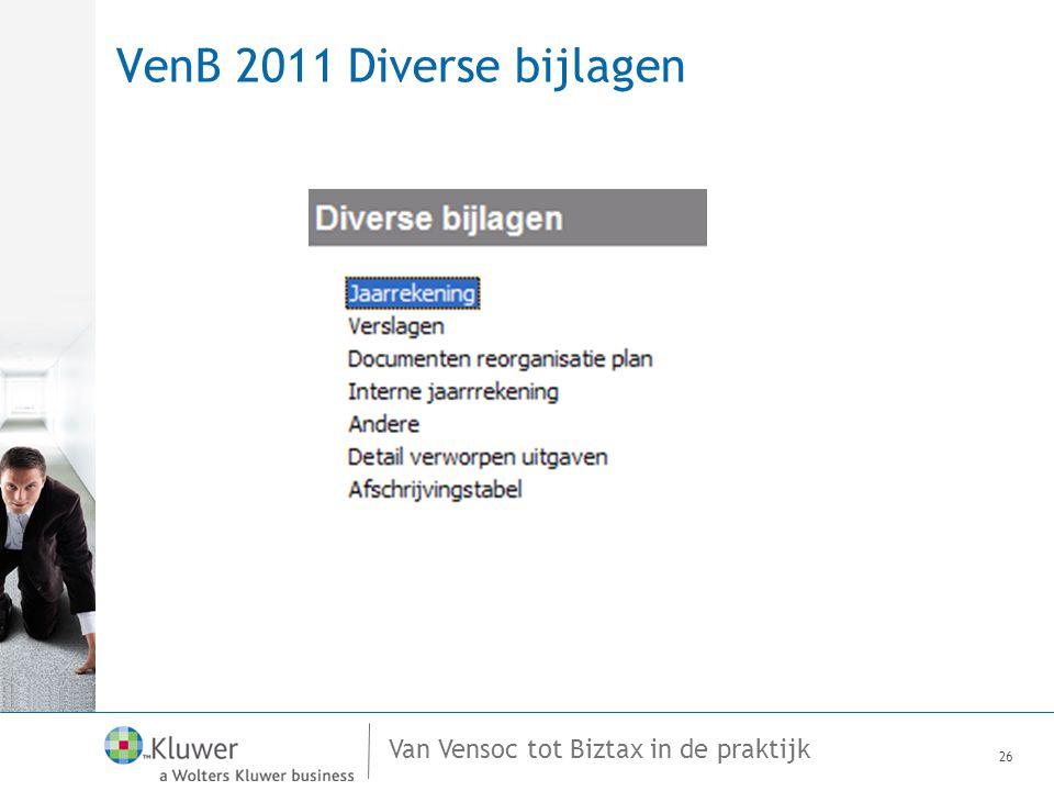 Van Vensoc tot Biztax in de praktijk VenB 2011 Diverse bijlagen 26