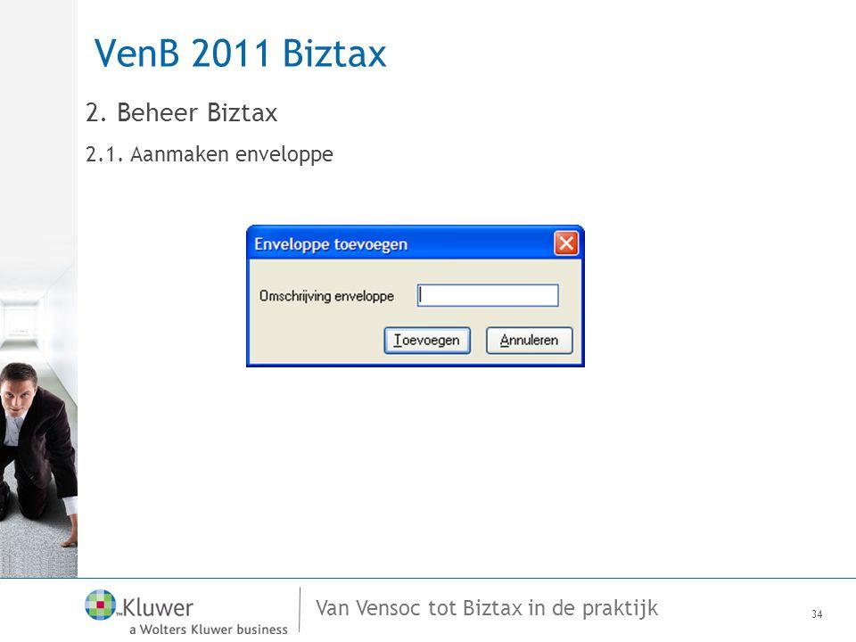 Van Vensoc tot Biztax in de praktijk VenB 2011 Biztax 34 2. Beheer Biztax 2.1. Aanmaken enveloppe
