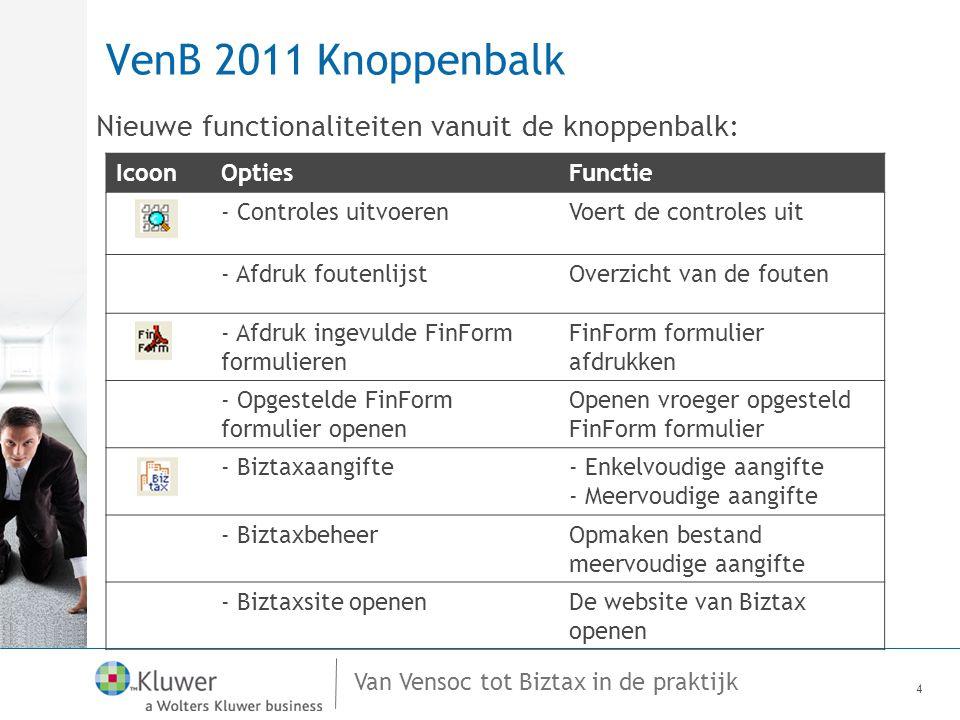 Van Vensoc tot Biztax in de praktijk VenB 2011 Menubalk 5 MenuOptiesFunctie Controles- Controles uitvoerenVoert de controles uit - Afdruk foutenlijstOverzicht van de fouten FinForm- Afdruk ingevulde FinForm formulieren FinForm formulier afdrukken - Opgestelde FinForm formulier openen Openen vroeger opgesteld FinForm formulier Biztax-Biztaxaangifte-Enkelvoudige aangifte -Meervoudige aangifte - Biztax beheer - Biztaxsite openenWebsite van Biztax Investeringsaftrek- Details invest.aftrek Expert/M P Plus Inlezen van de gegevens voor de invest.aftrek